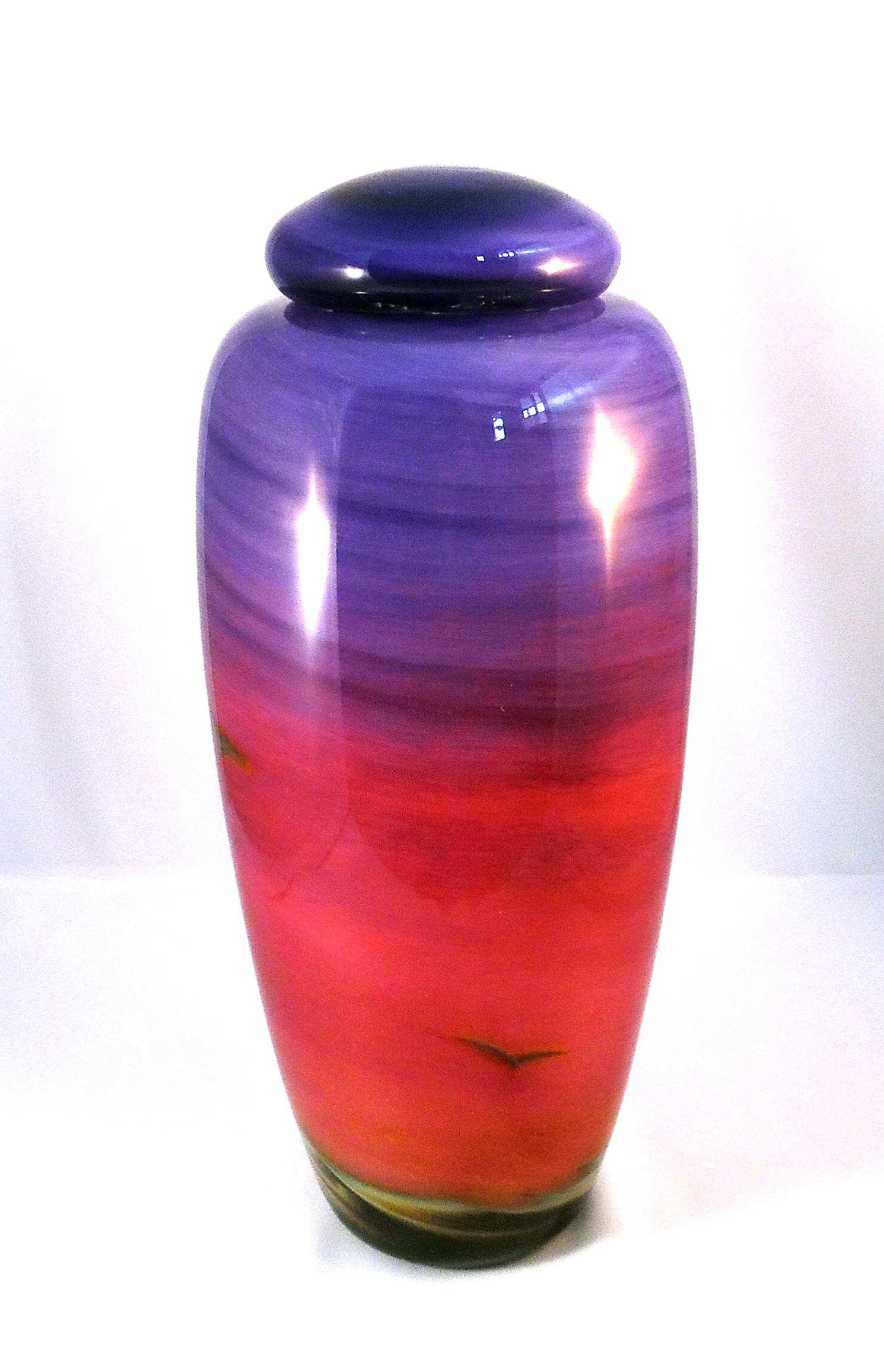Dawn Urn - Violet/ Cranberry by Nicole Tremblay