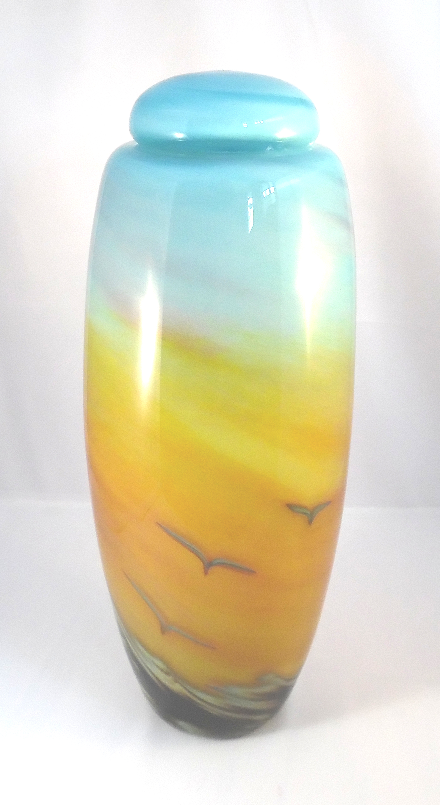 Dawn Urn -Gold/Aqua by Nicole Tremblay
