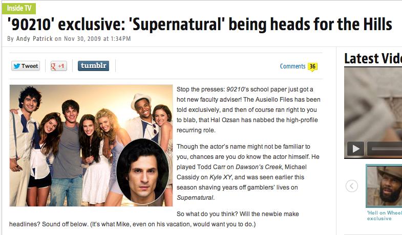 Hal Ozsan in TV Guide News