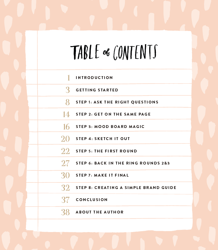 branding process ebook table of contents