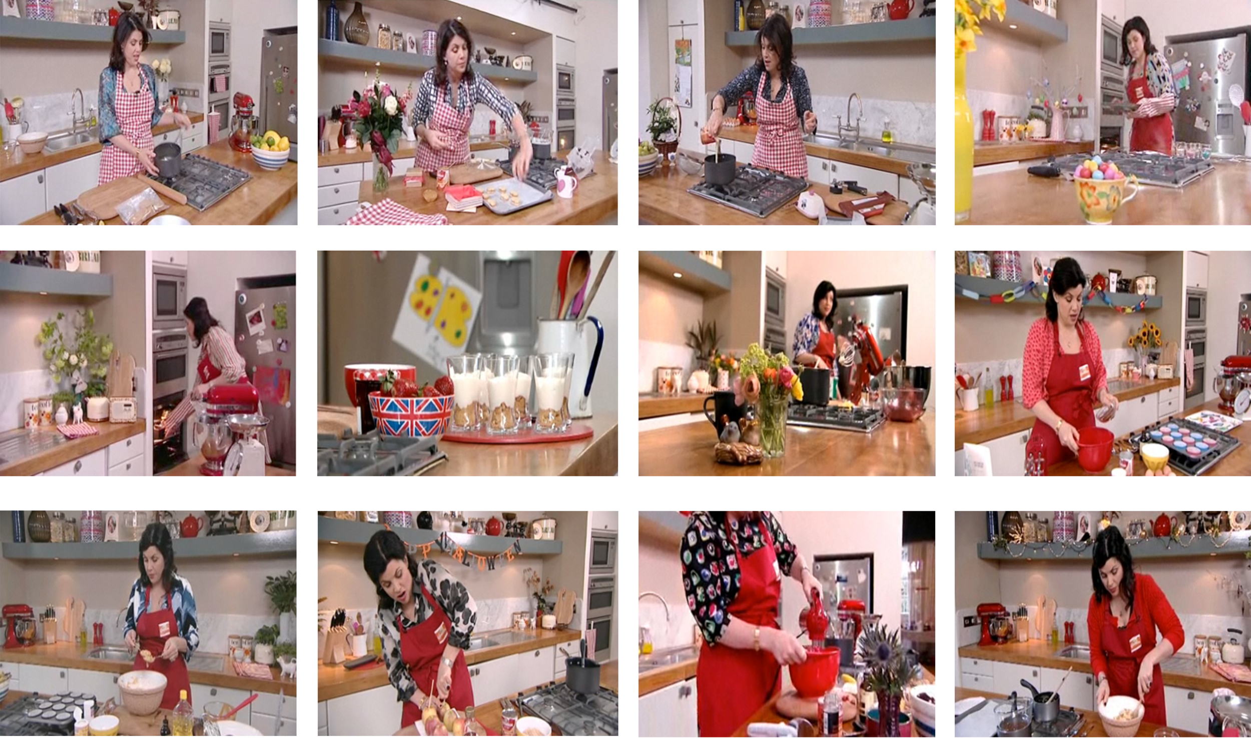 """Nestle Carnation Pudcasts  Starring Kirstie Allsop; stills from twelve """"pudcast"""" recipes made using Carnation condensed cream, with each recipe (and set) designed to represent a key theme or event from every month of the year"""