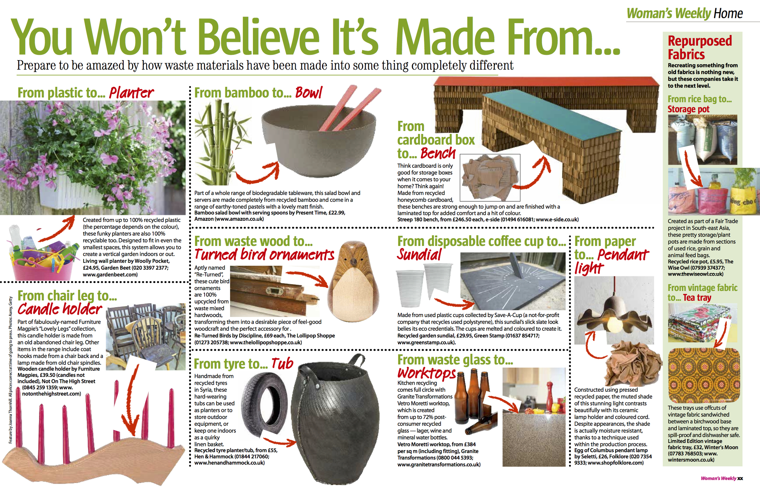 Woman's Weekly You Won't Believe It's Made From... feature by Joanna Thornhill,  May 14 2013.jpeg