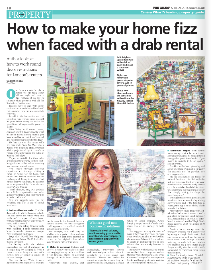 The Wharf article Home for Now by Joanna Thornhill