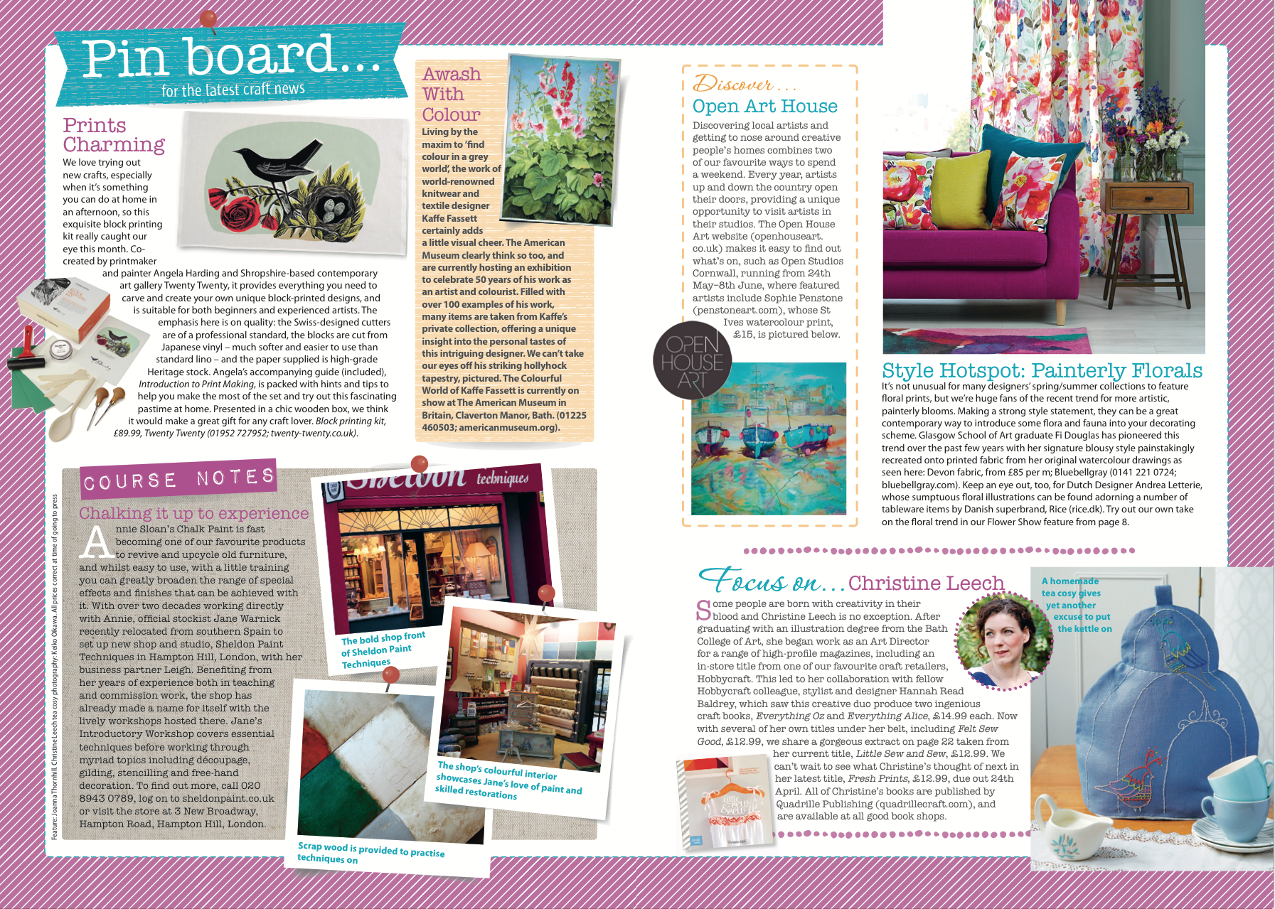 Pinboard by Joanna Thornhill for Craft from Woman's Weekly, May 2014