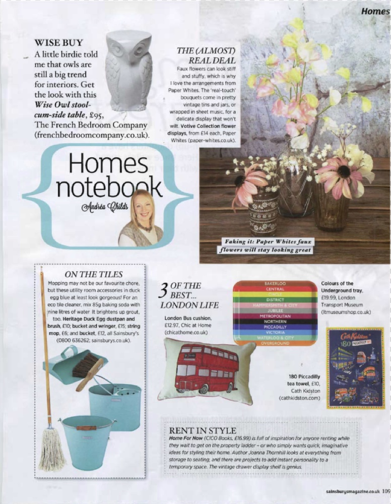 Sainsbury's Magazine March 2014 Review Home for Now by Joanna Thornhill