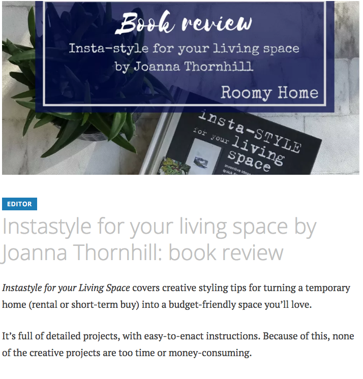 Roomy Home book review of Insta Style for Your Living Space by Joanna Thornhill Nov 2018 P1