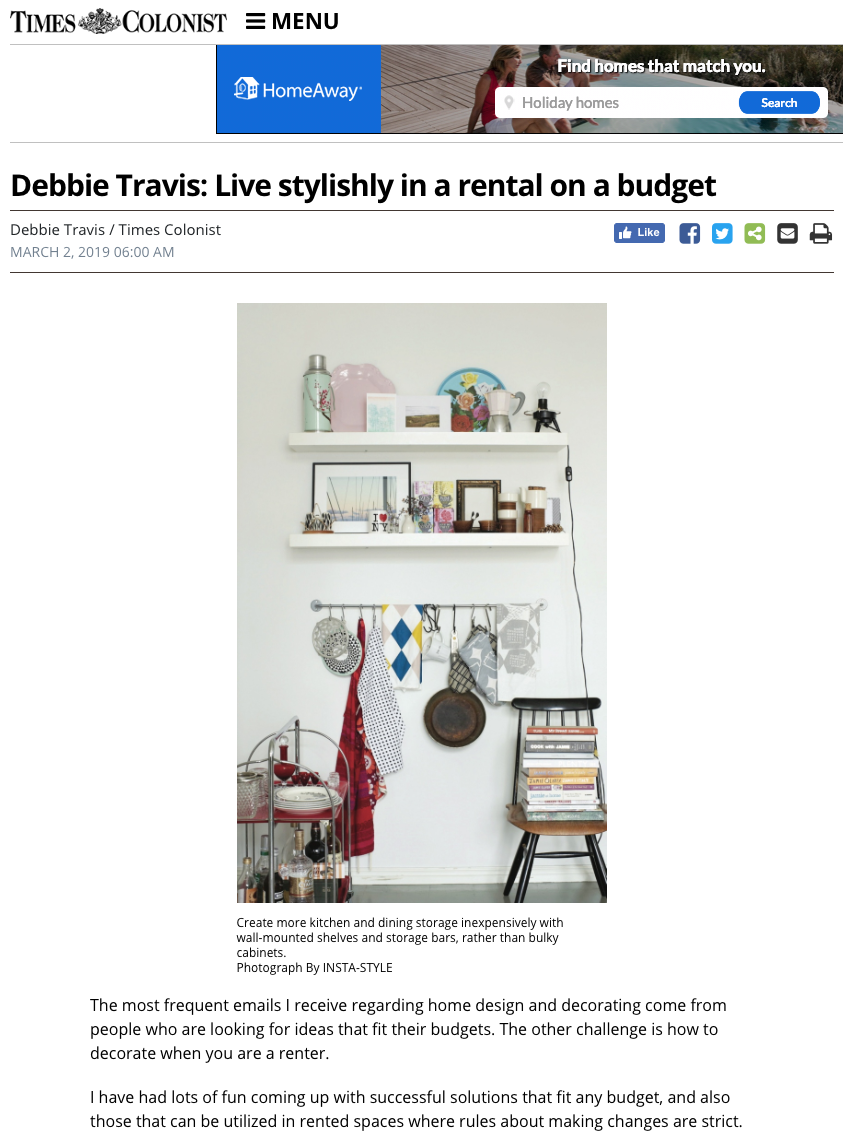 Times Colonist featuring Insta Style for Your Living Space by Joanna Thornhill 3rd March19 P1.png