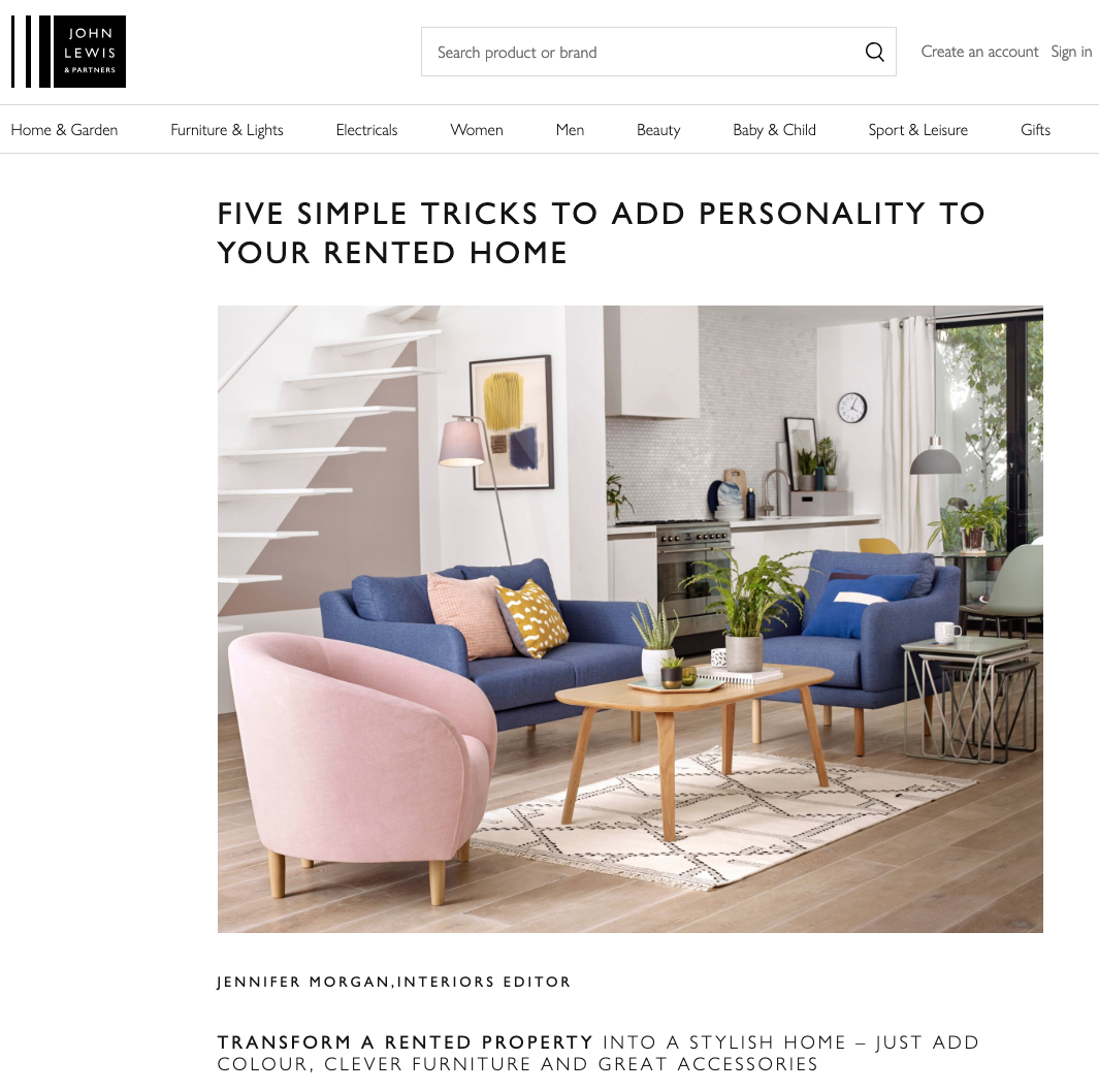 John Lewis The Edit Add Personality to Rented Home article feat. Joanna Thornhill Header.png