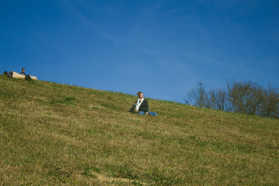 Yes,  that is my pregnant sister riding a piece of cardboard down a hill!
