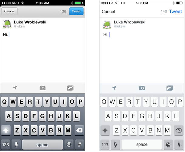 """""""Compare Twitter's compose screen on iOS 6 to the one on iOS 7: the lack of strong contrast between elements makes it less immediately apparent where the primary call to action (Tweet) is located,"""" Wroblewski cautions."""