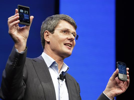 Thorsten Heins, CEO of BlackBerry, in New York in January.  (Photo: Mark Lennihan, AP)