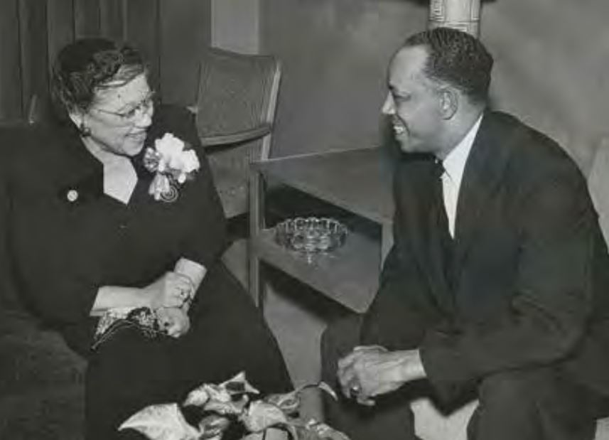 Jimmy Lee was well known in his Rondo neighborhood as well as the greater St. Paul region. Here, he visits with fellow community leader Alice Sims Onqué, executive director of the Hallie Q. Brown Community Center from 1949 to 1965. One of Jimmy's first jobs was at the center. Photo from Lee Family Collection, courtesy of Frank M. White.