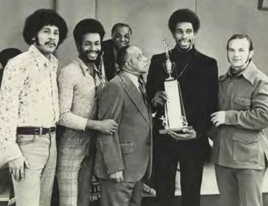 Jimmy Lee helped present St. Paul native and Hall of Famer David Winfield, who had just finished his first year with the San Diego Padres, with the St. Paul Lion's Club Amateur Athlete Award at Attucks Brooks American Legion Post in 1973. (L-R): Frank White, Steve Winfield, Jimmy Griffin (back), Jimmy Lee, David Winfield, and Bill Peterson. Photo courtesy of Frank M. White.