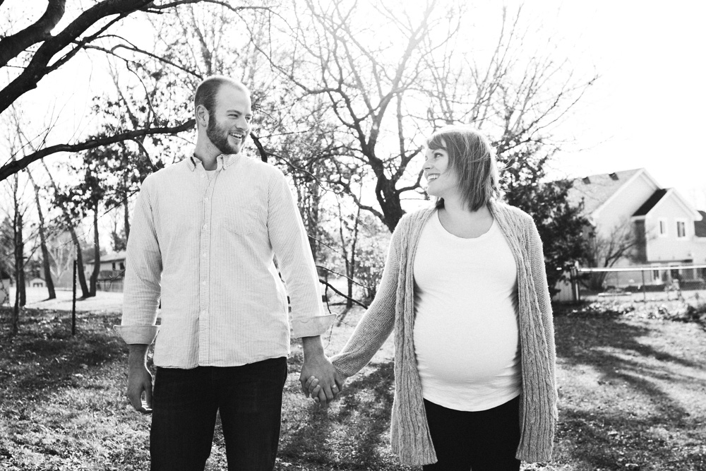 Black and White Maternity Family Photo