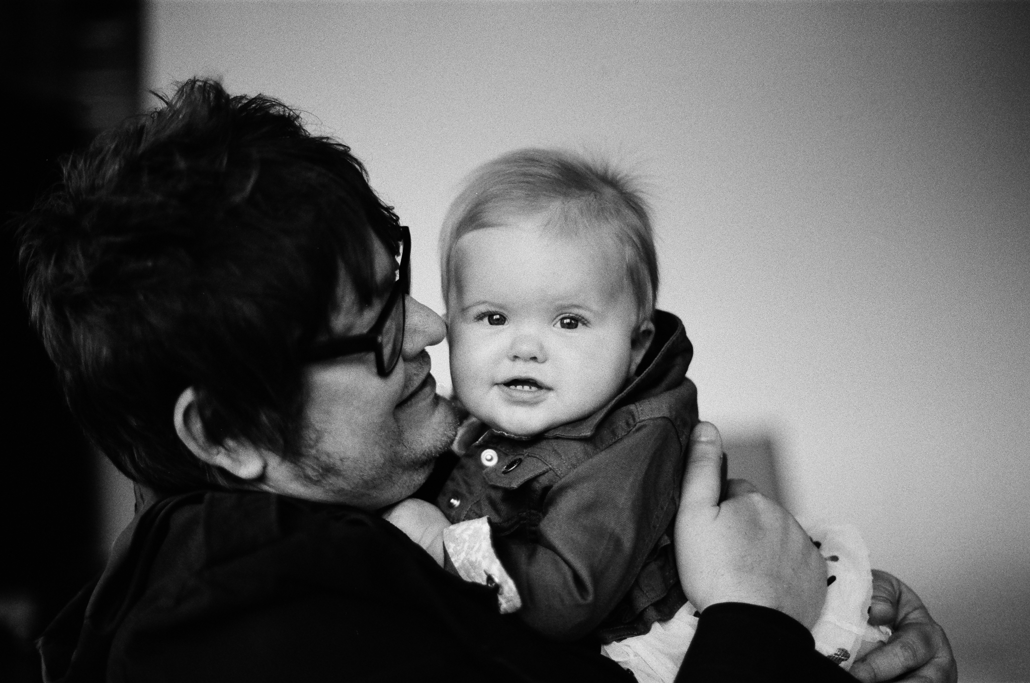 Photos of a father and a baby
