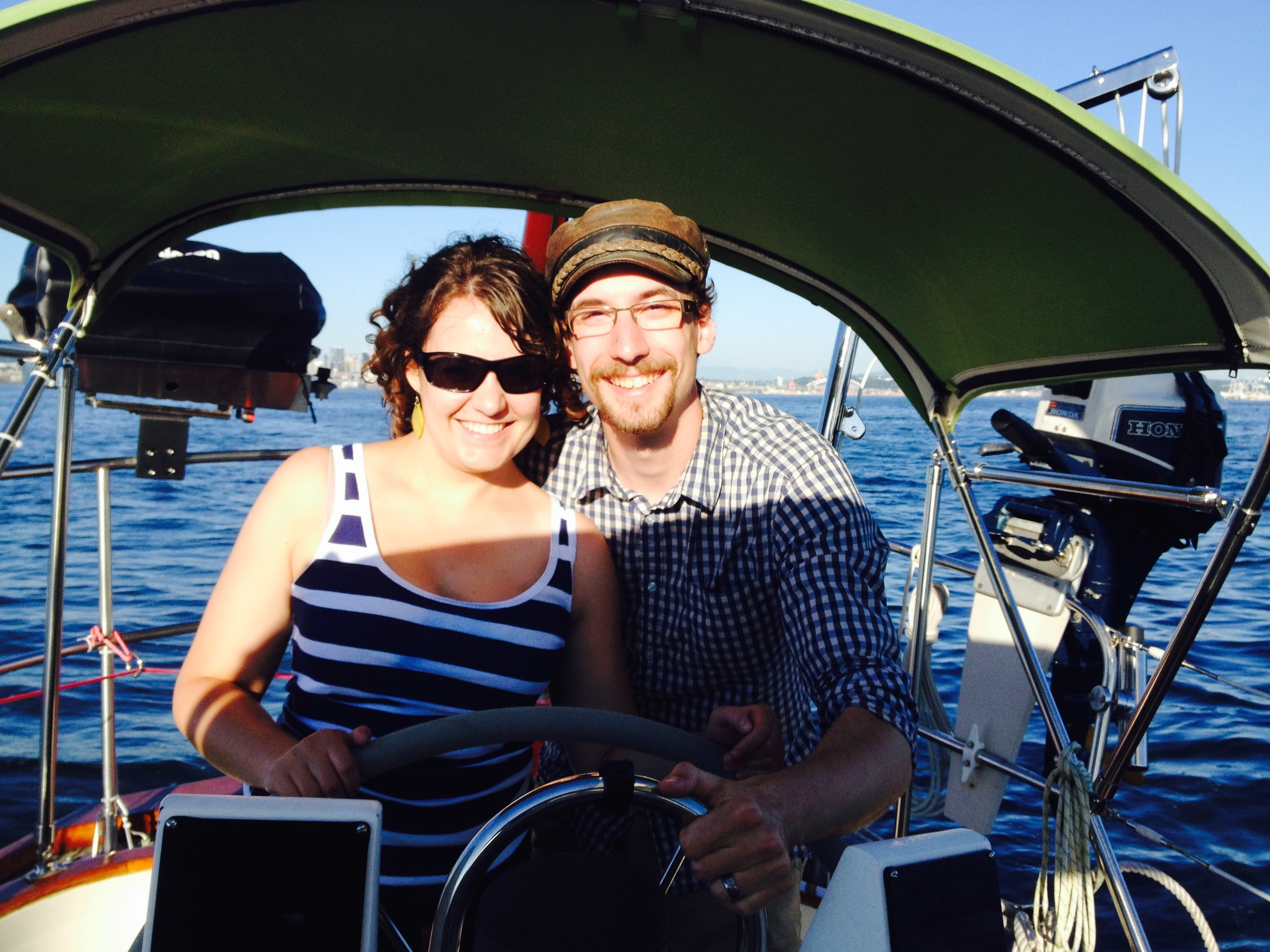 Lora and Chris on their Sunset Sail