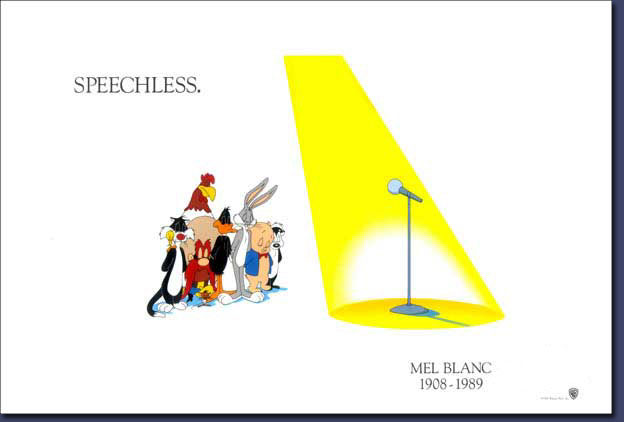 Warner Bros tribute lithograph in honor Mel Blanc's death.  Issued 1993