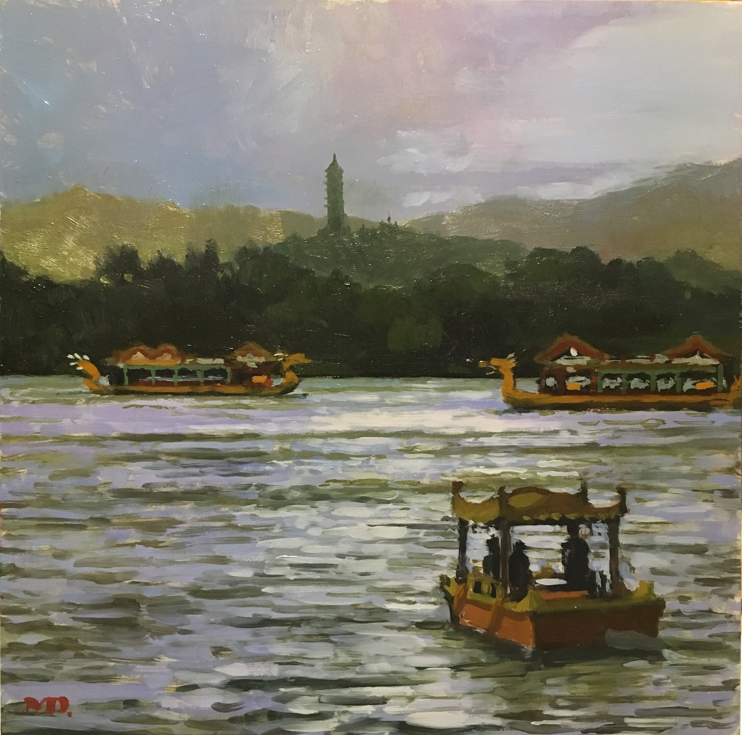 Dragon Boats at the Summer Palace, Bejing (sold)