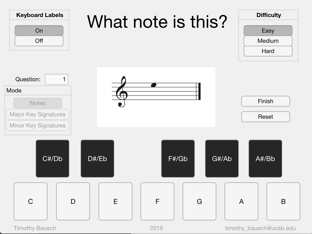 Music Identifier - Please click here (note, this will take you to the Orangedox website) to download this application to your computer and test your ability to identify musical notes and major and minor key signatures!Note: You have the option to adjust the difficulty of the app! The easy difficulty keeps the image visible indefinitely, the medium difficulty hides the image after four seconds, and the hard difficulty hides the image after one second!