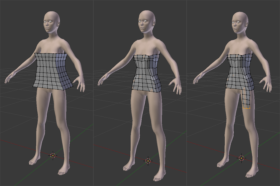 A box positioned around the body with new loops added and scaled to the rough shape of the torso, then Shrinkwrapped and extruded to start covering the legs.