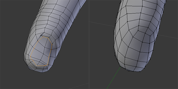 The finger nail loop that I remove, and the finger after Smoothing Vertex on the tip. This also shows the finger problems you can get if you let Shrinkwrap effect them.