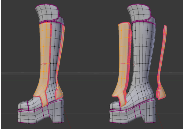 The panels on the boot are Separated, but the ridge on the toe and knee pad are Extruded. This makes the panels easy to select and adjust.