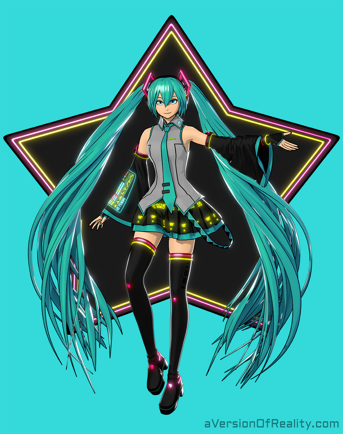 Hatsune Miku variant outfit for the Miku Expo 2019 Fan Art contest by  ForFansByFans.com .  Link to the entry .