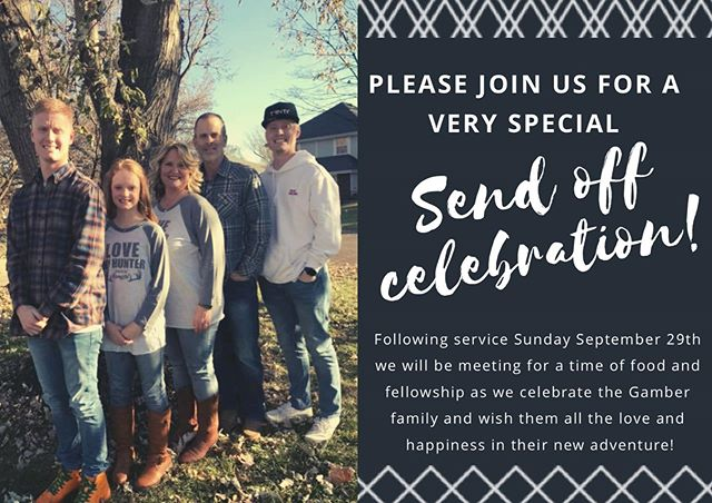 Join us this Sunday as Pastor Kevin delivers his farewell message to our church family. You will absolutely not want to miss this special Sunday together! Come as we fellowship, celebrate and pray for their upcoming adventures. Come prepared with a love offering to bless them for their 14 years of love and service to our church body.  Let's bless them beyond belief!  Bring cards and hugs! See you Sunday.