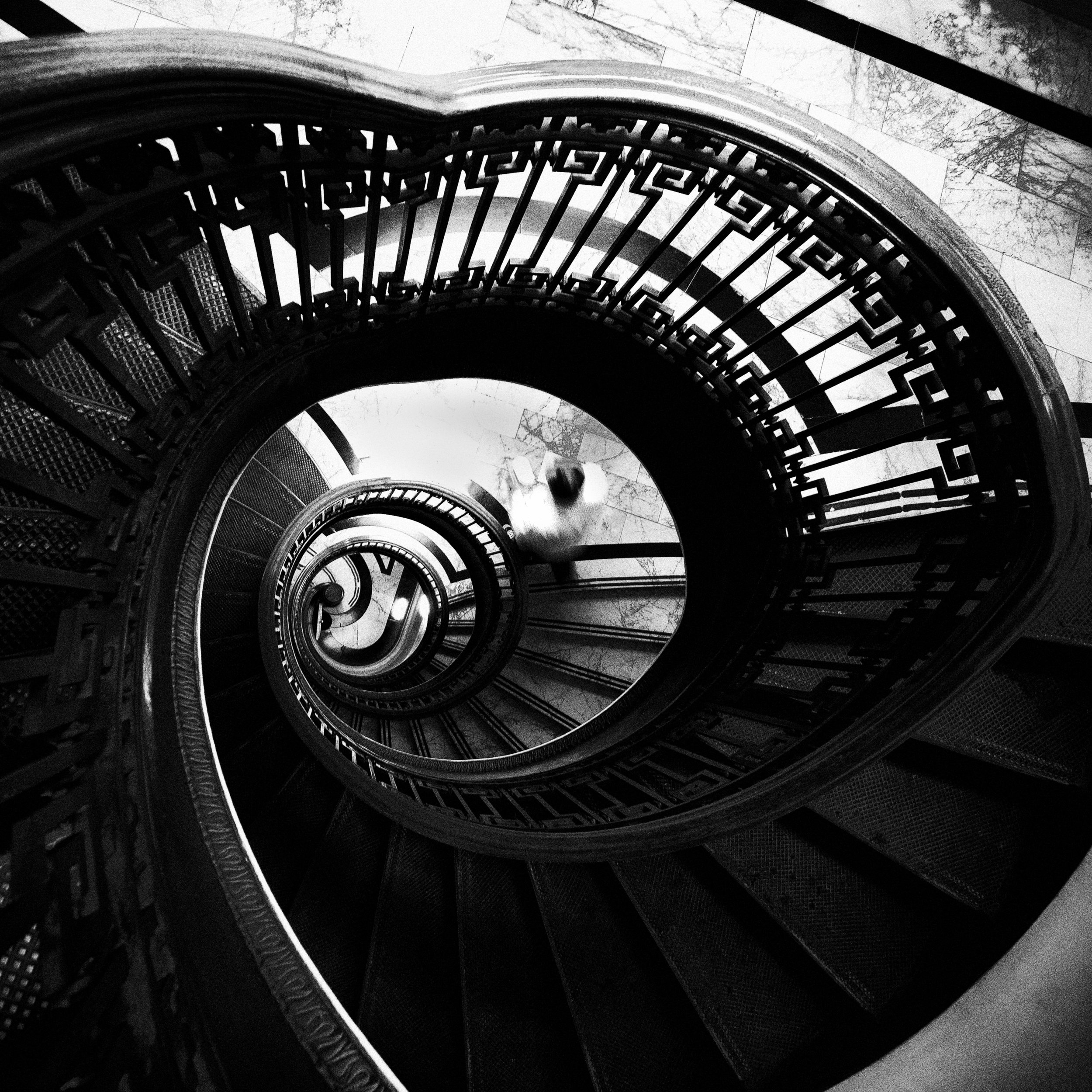 San Francisco mechanics institute black white spiral staircase vertigo