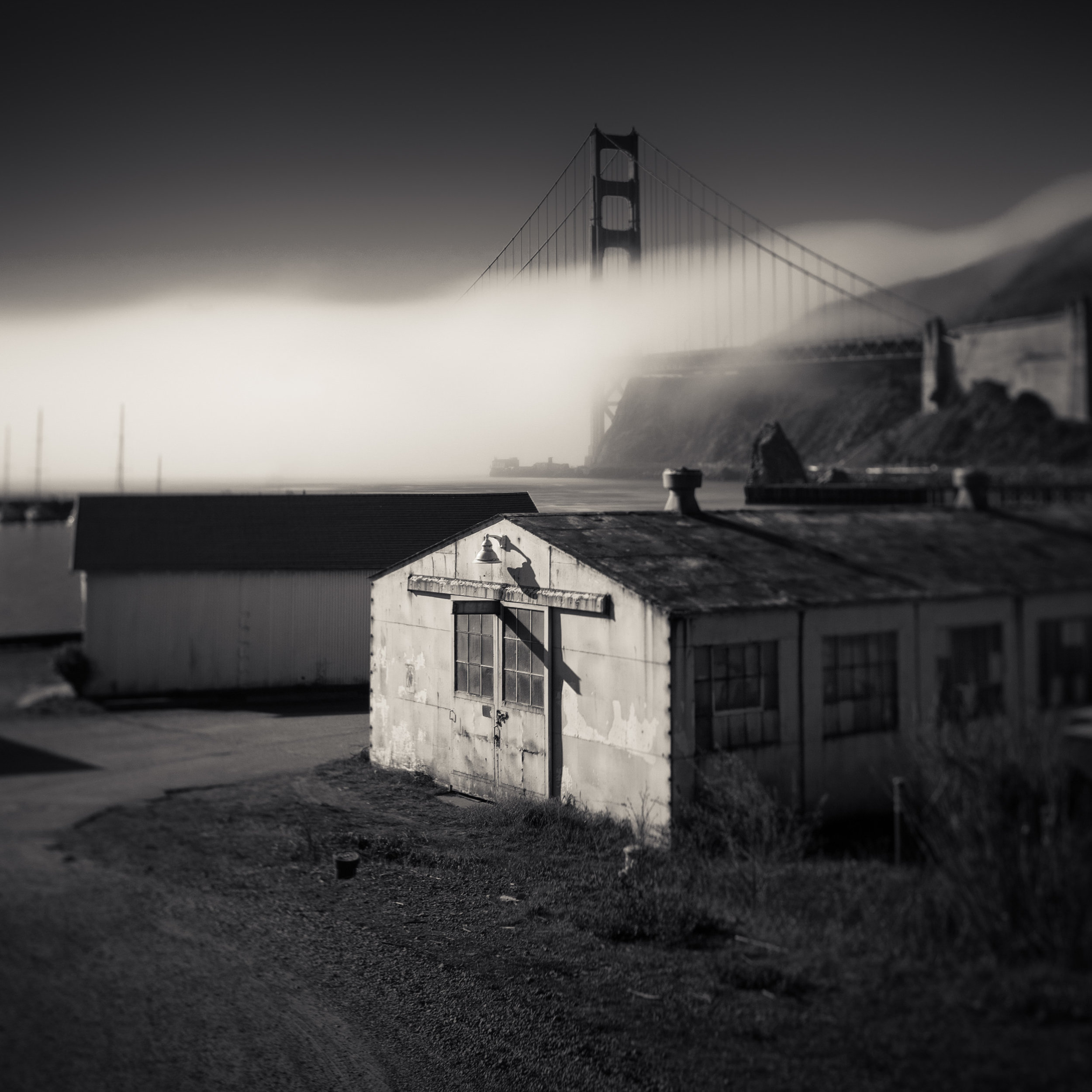 Sausalito Fort Baker black white golden gate bridge waterfront fog