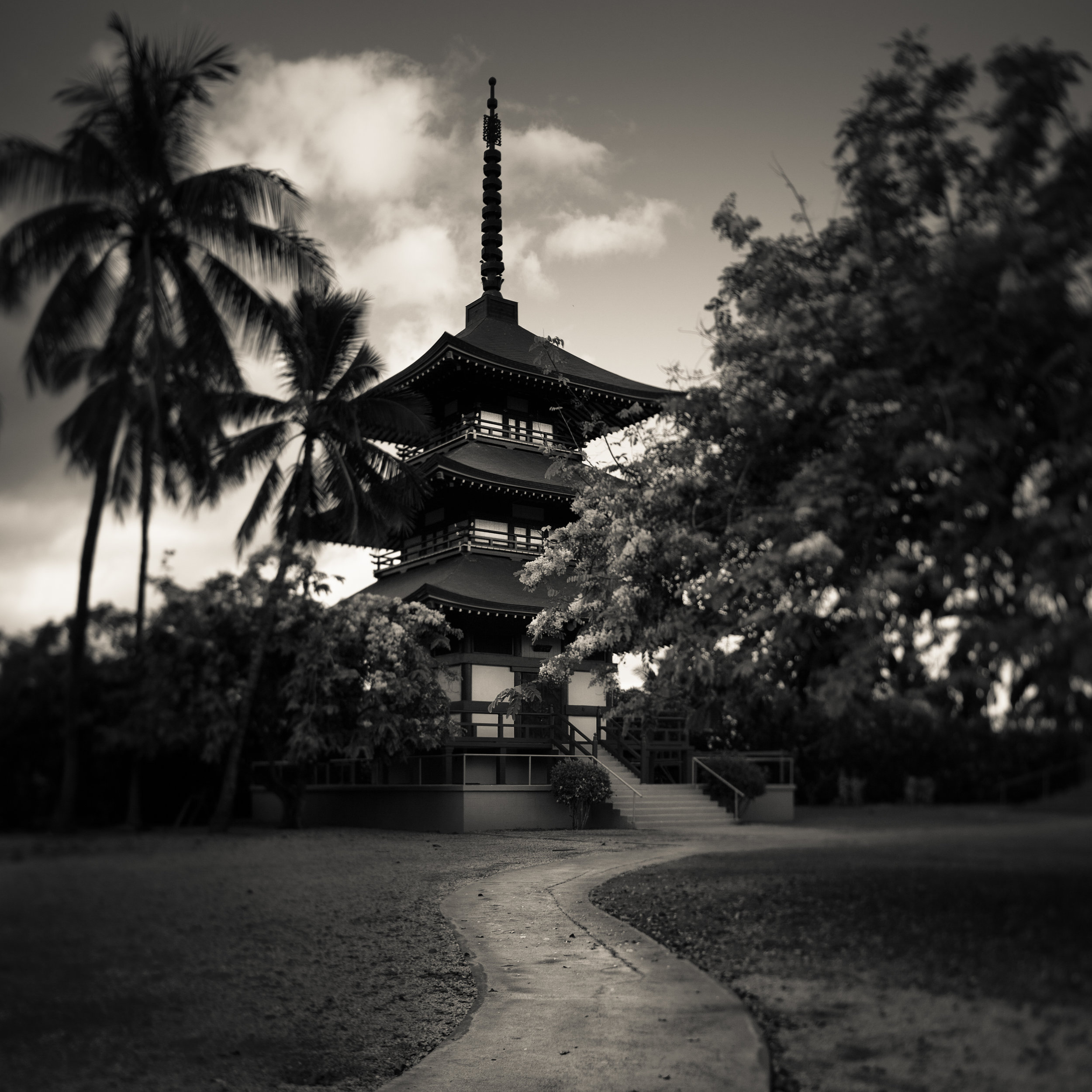 Maui Lahaina Jodo temple black white buddhist pagoda japanese