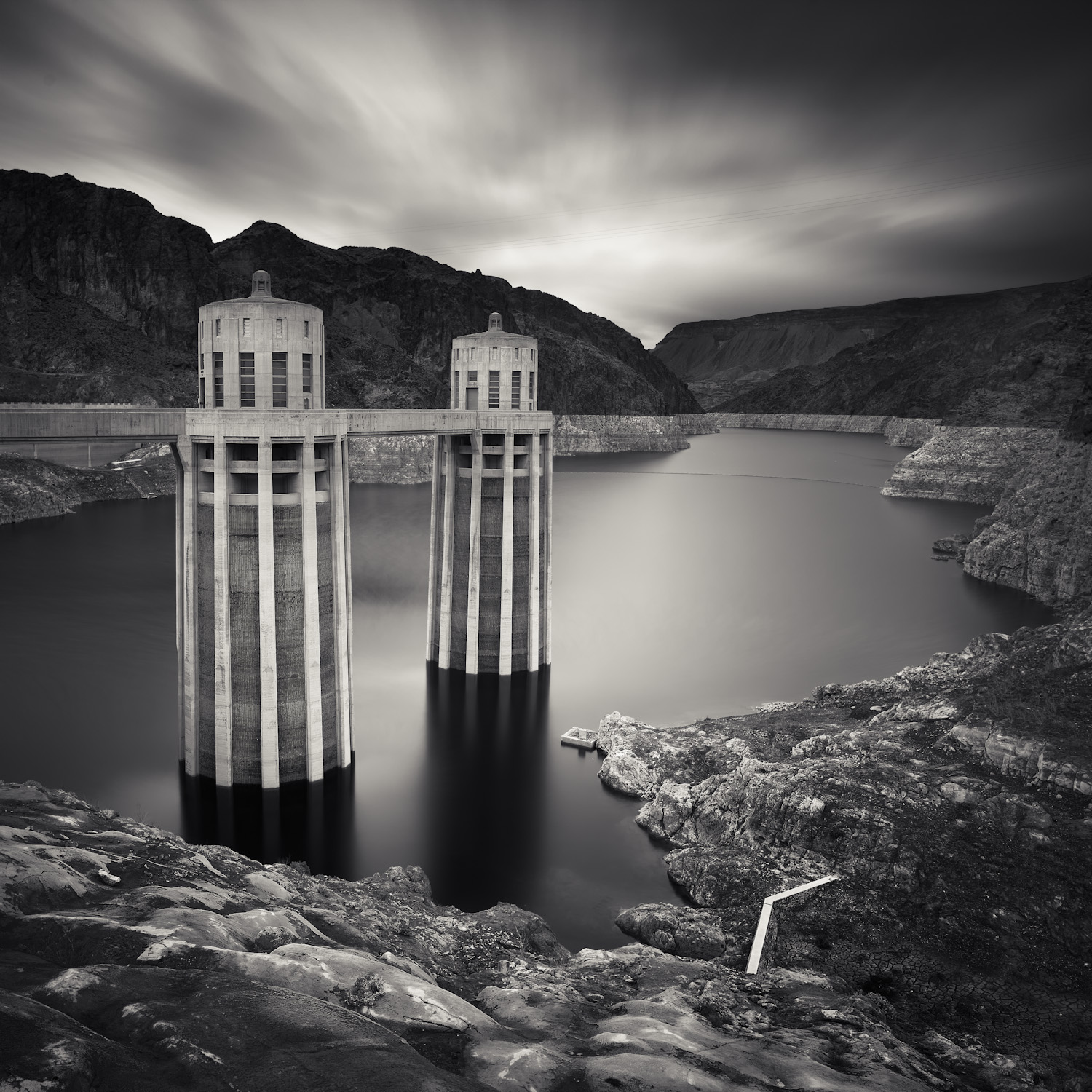 Hoover Dam Lake Mead black white reservoir towers clouds