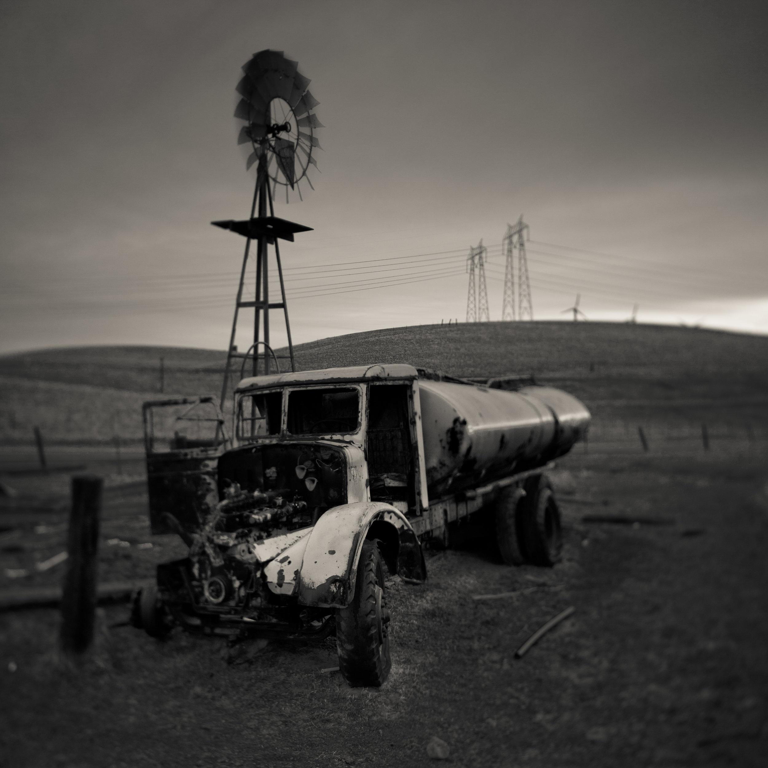 Altamont black white windmill truck abandoned rural