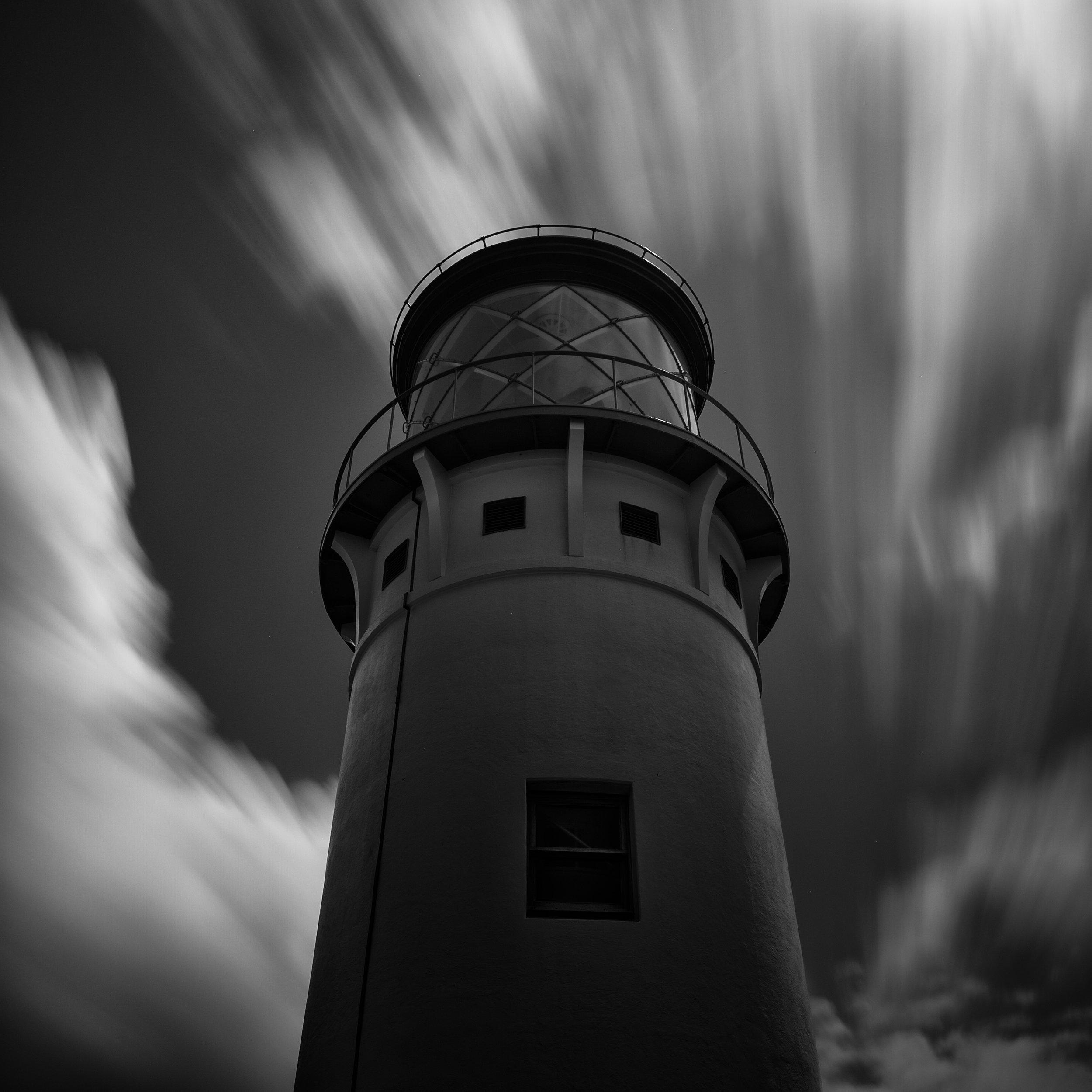 Kauai black white kilauea lighthouse clouds drama beacon