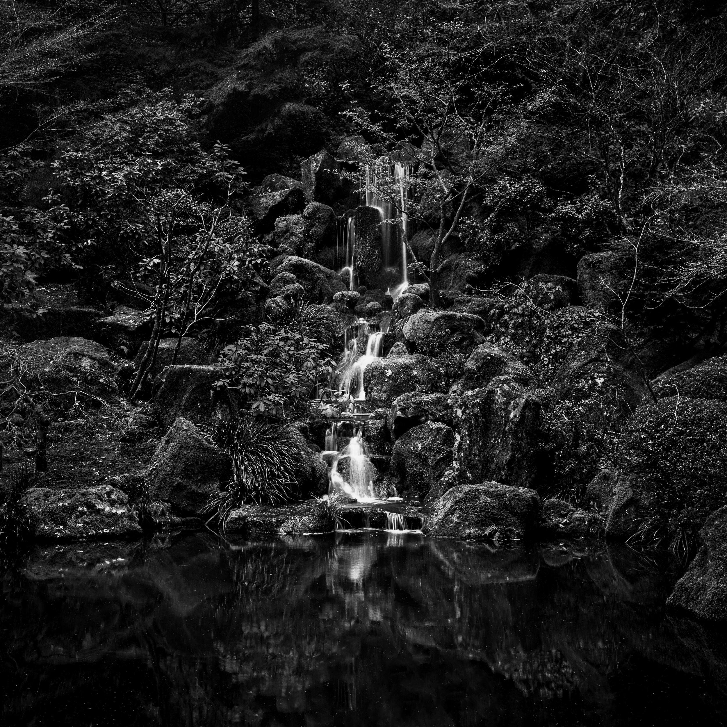 Portland japanese garden black white pond waterfall zen peaceful calm