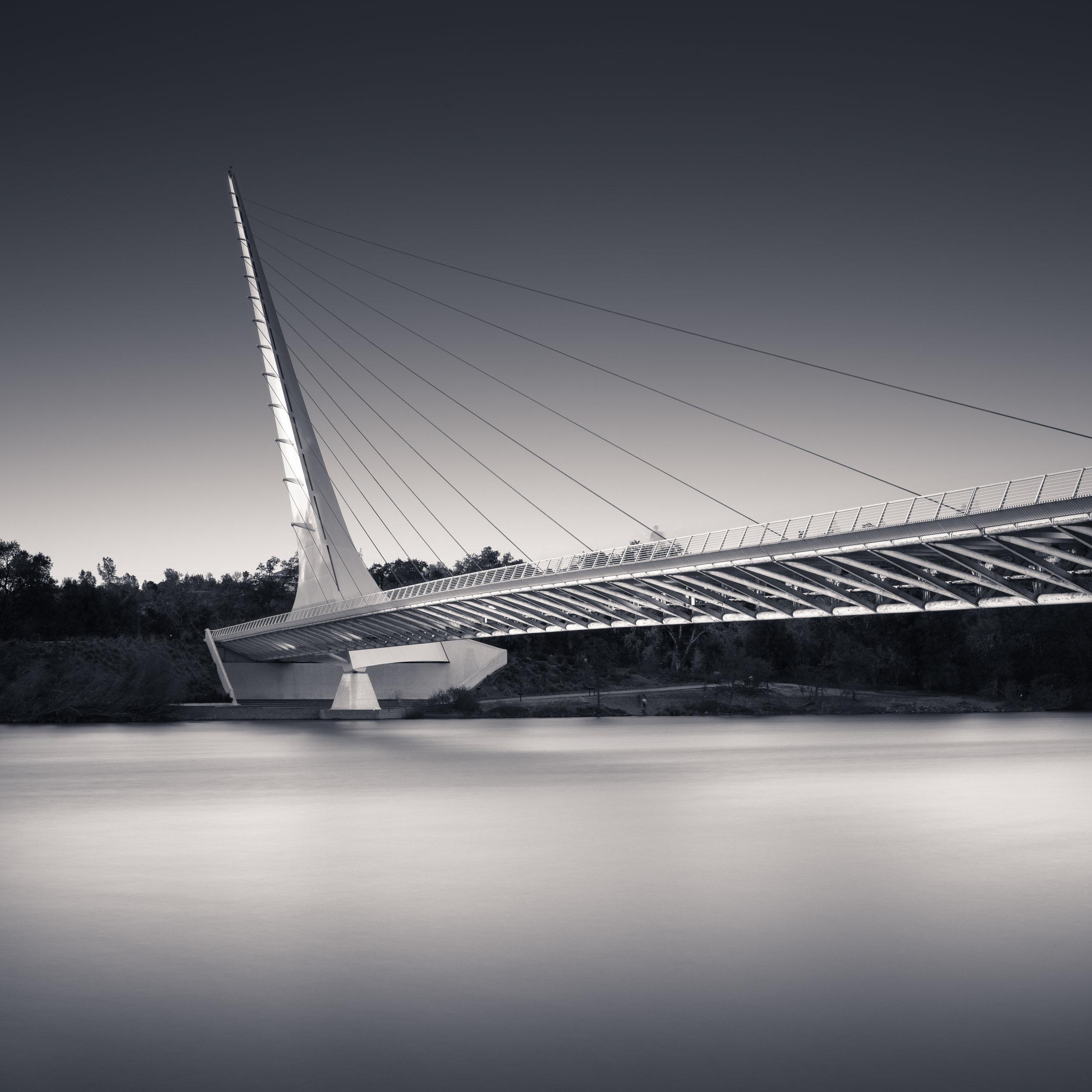 Redding black white sundial bridge sacramento river evening
