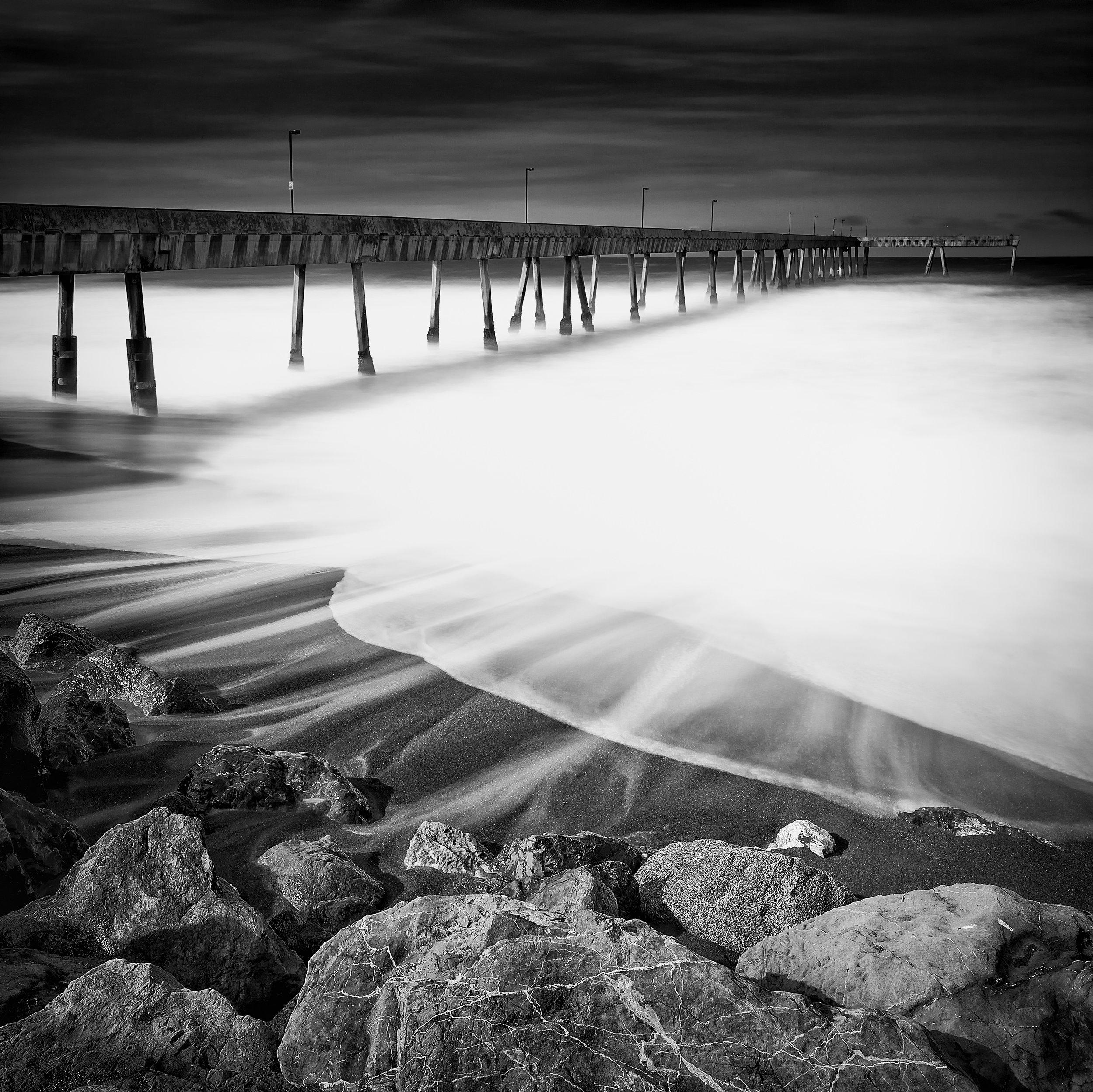 Pacifica black white pier beach wash waves