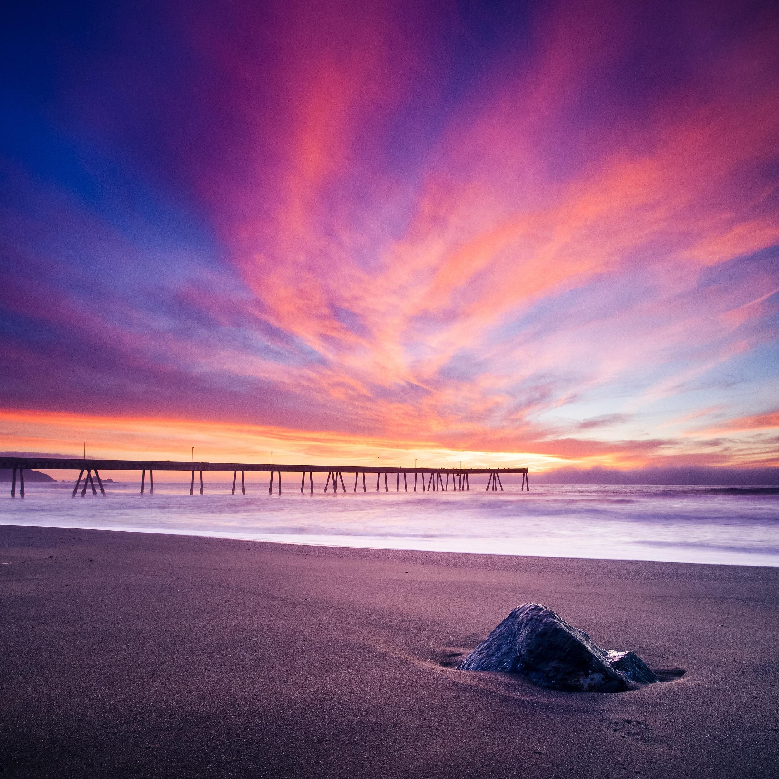 Pacifica pier sunset pastel explosion