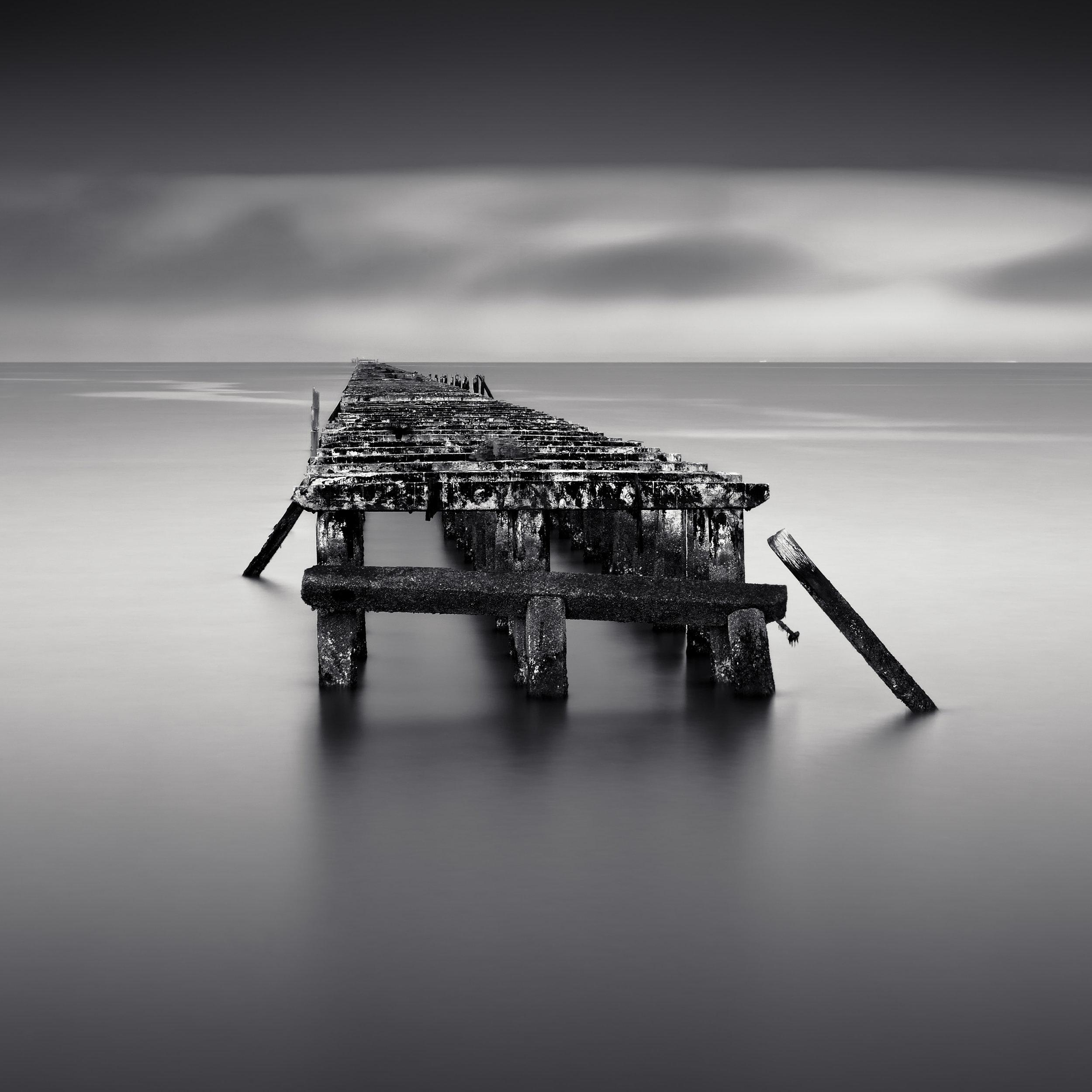 Berkeley pier black white sunrise decay dominoes