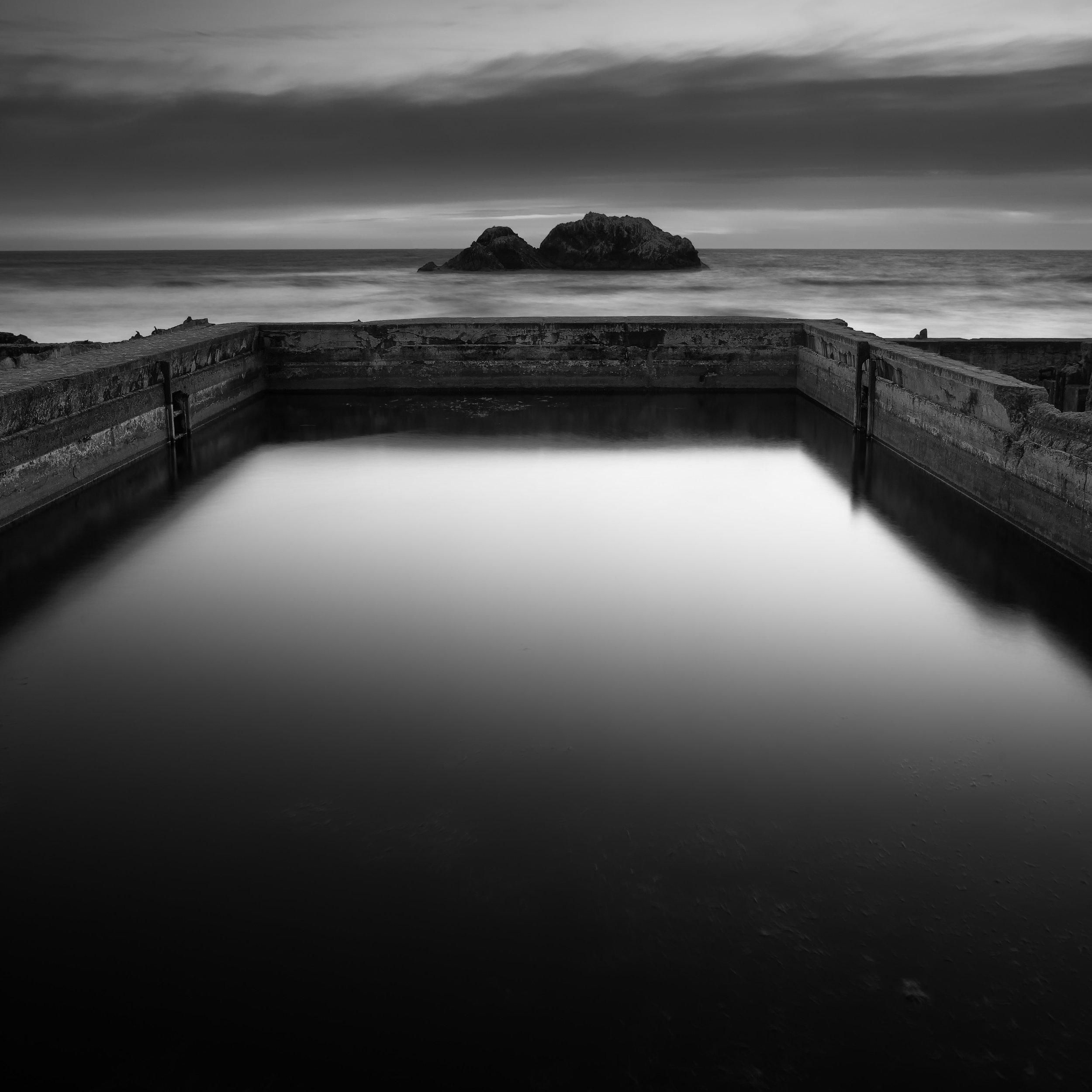 San Francisco black white sutro baths contemplation peace calm