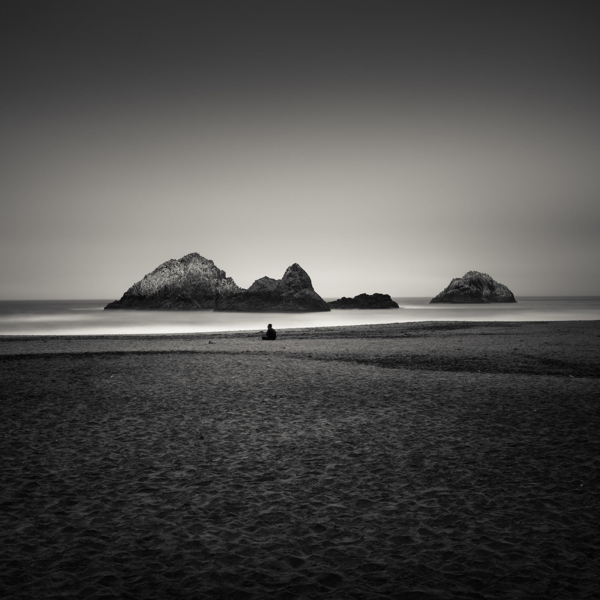San Francisco black white sutro baths beach sole figure meditation awareness calm