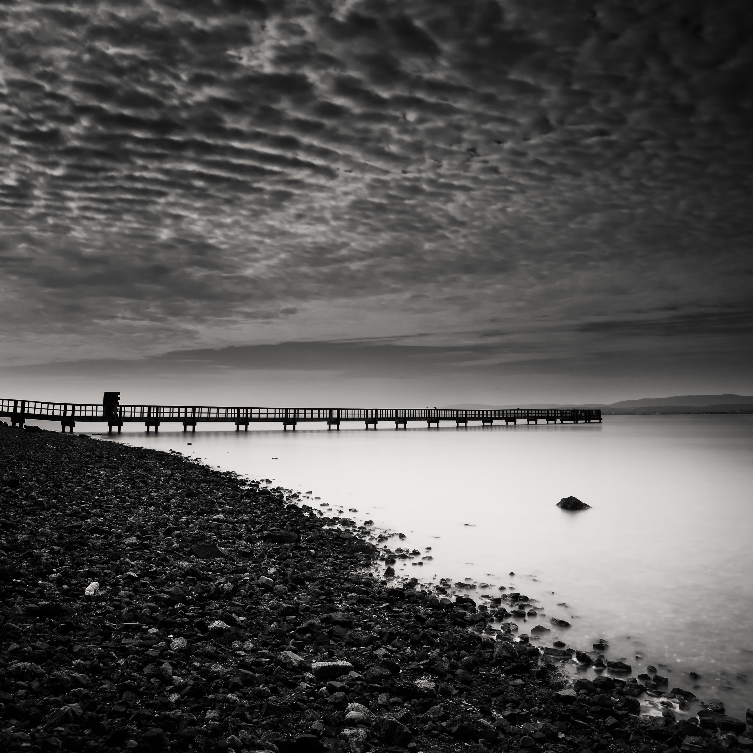 South San Francisco black white candlestick pier clouds impression