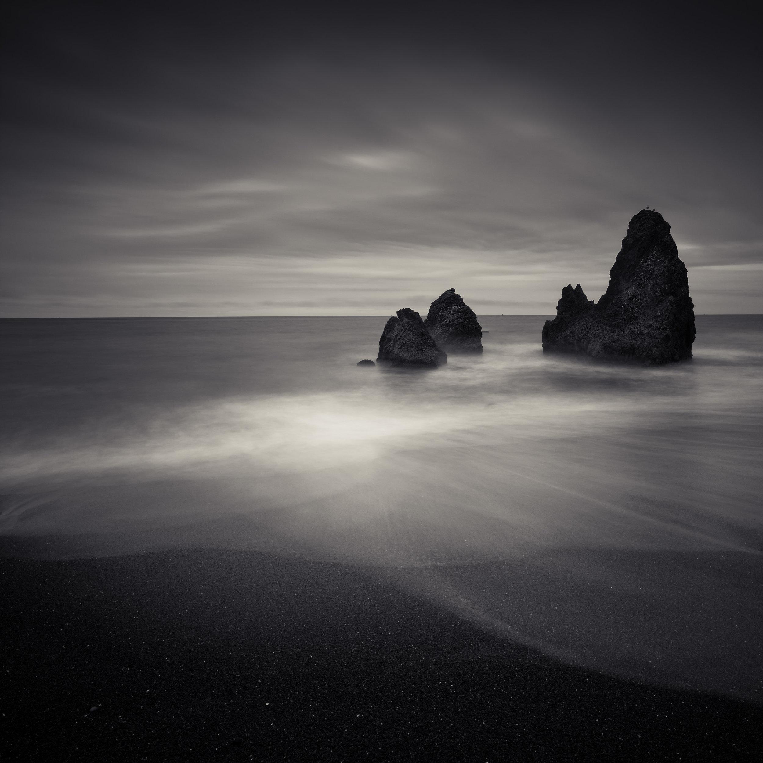 Rodeo Beach black white rocks meditative moody