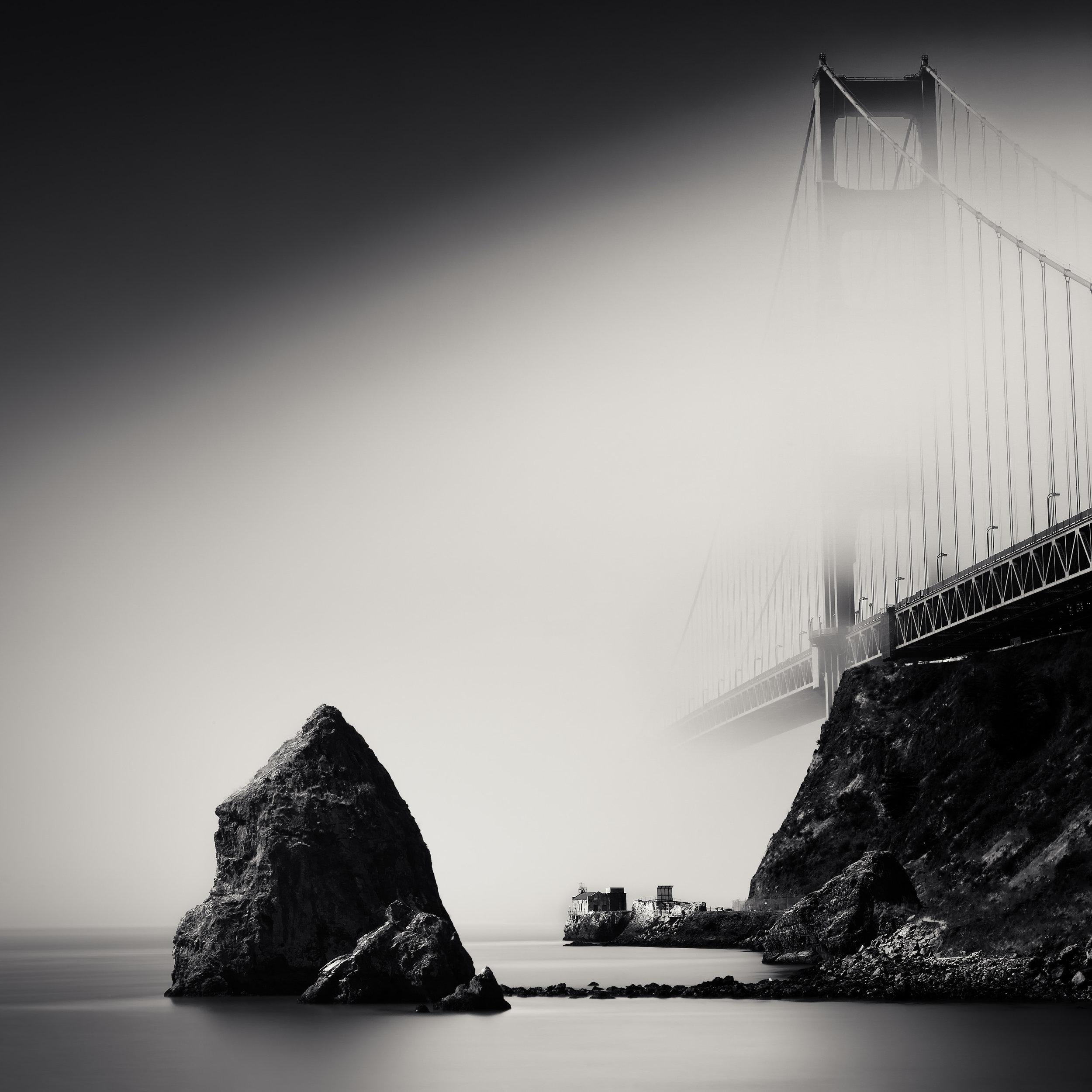 Sausalito black white fort baker golden gate bridge fog mist rocks