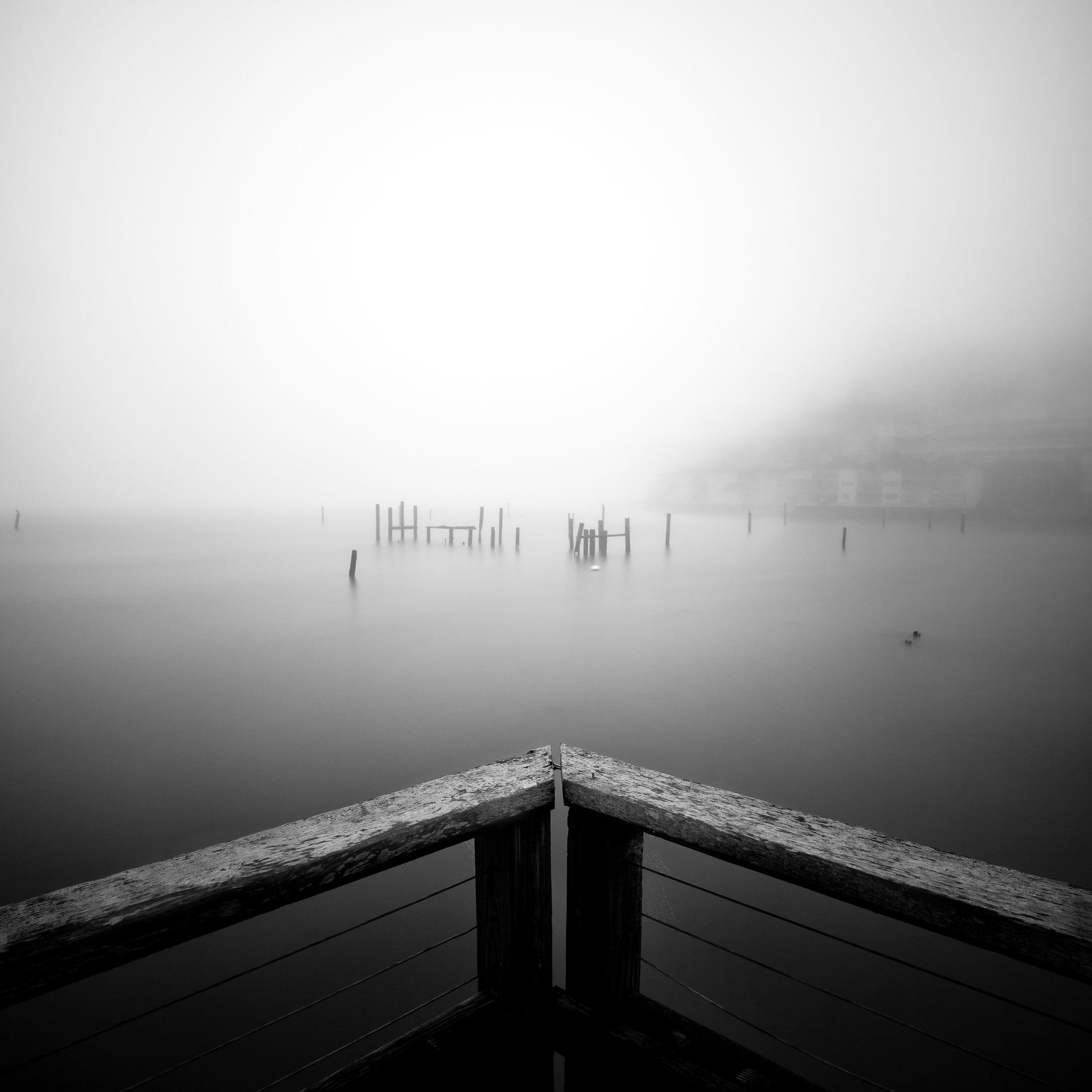 Sausalito black white pier pilings railing fog