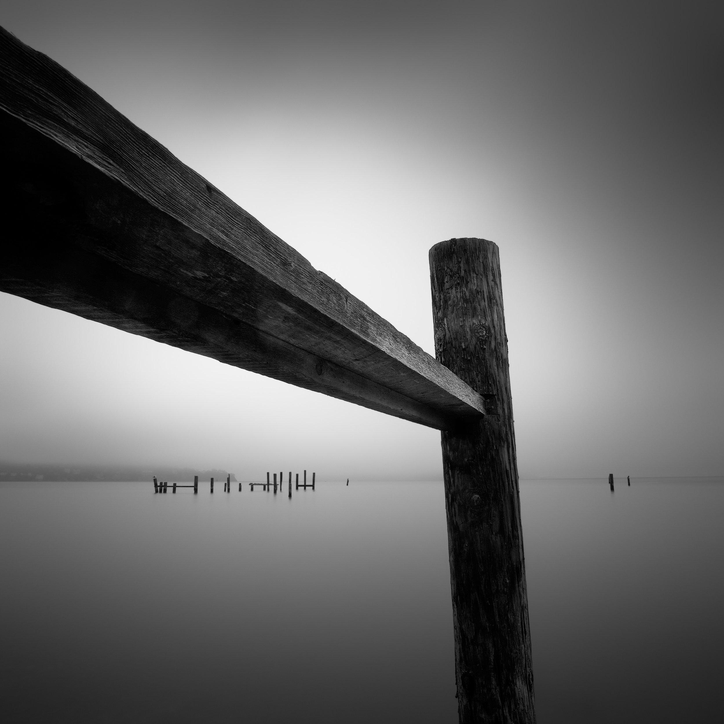 Sausalito black white pier pilings fog vestiges