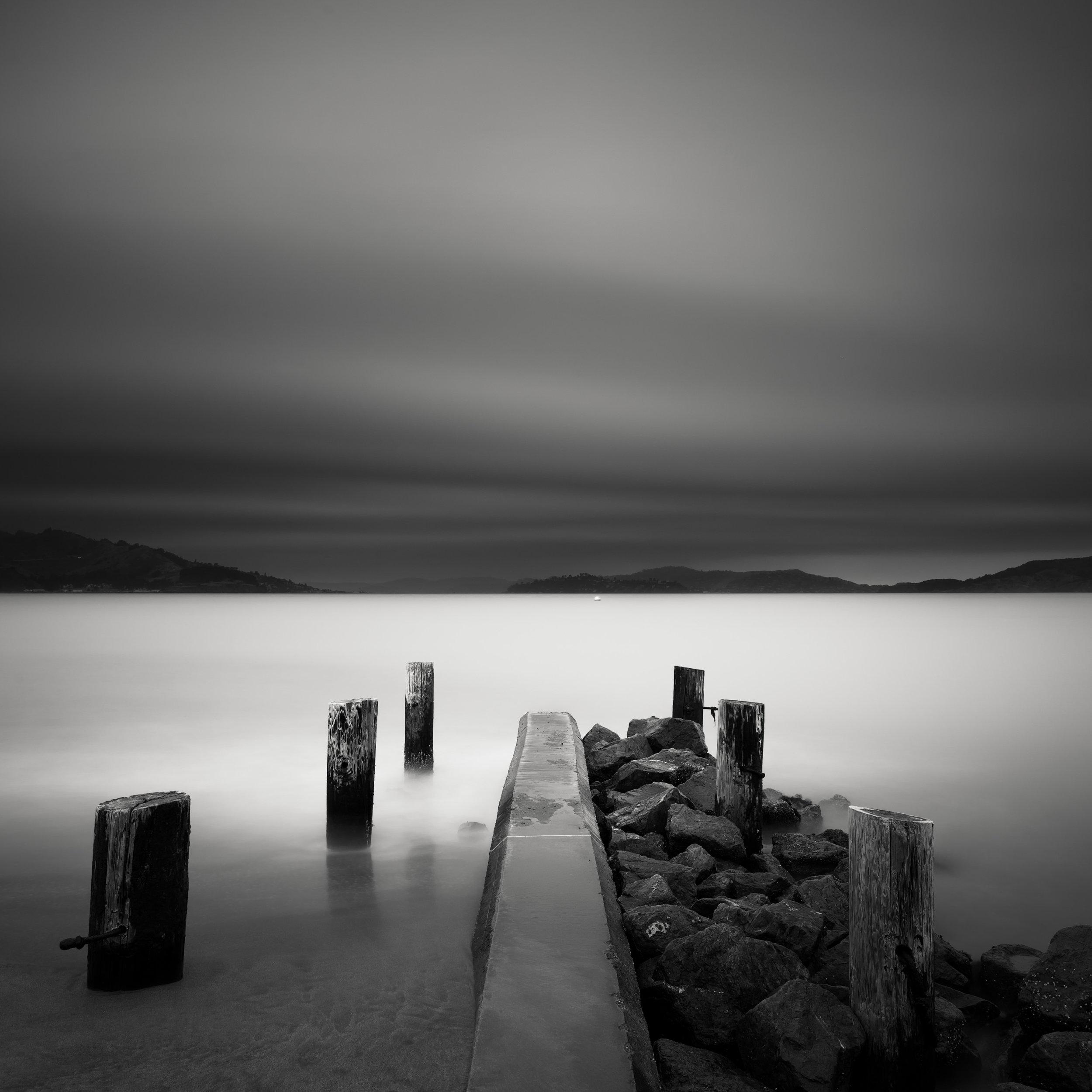 San Francisco black white crissy field pier pilings asymmetry