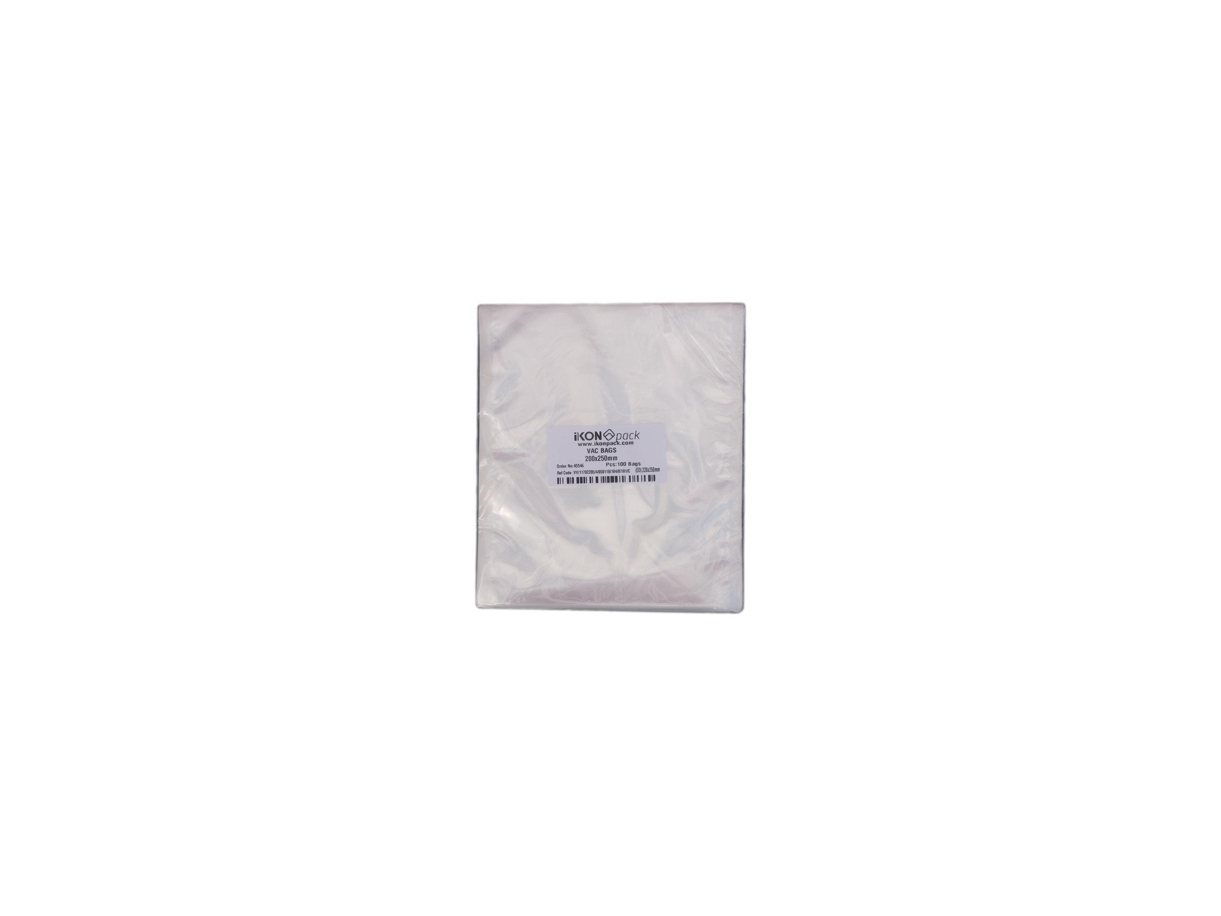 iK-VAC2025      VACUUM POUCH 70 MICRON 200X250    100 per slv 1000 per carton