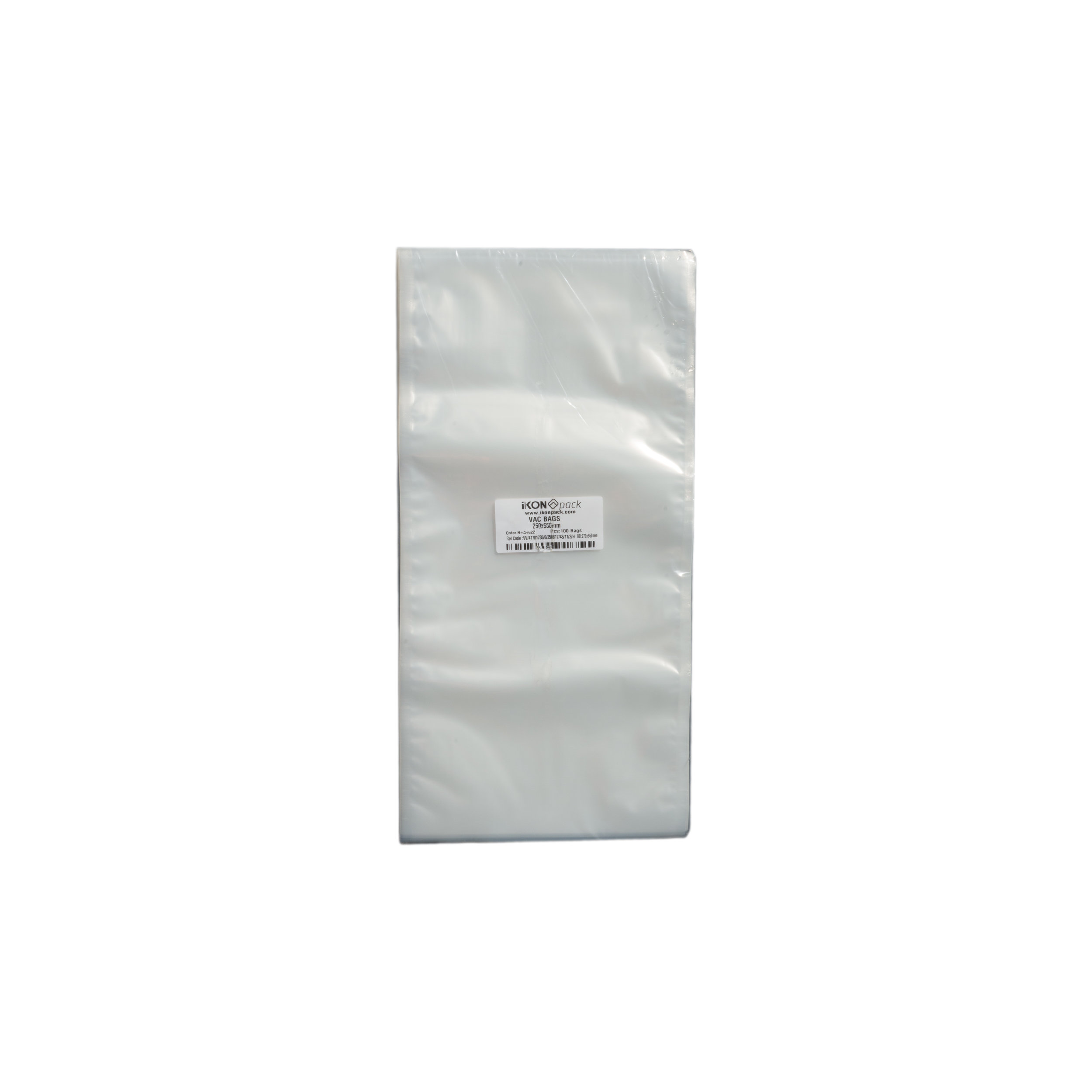 iK-VAC2555      VACUUM POUCH 70 MICRON 250X550    100 per slv 1000 per carton