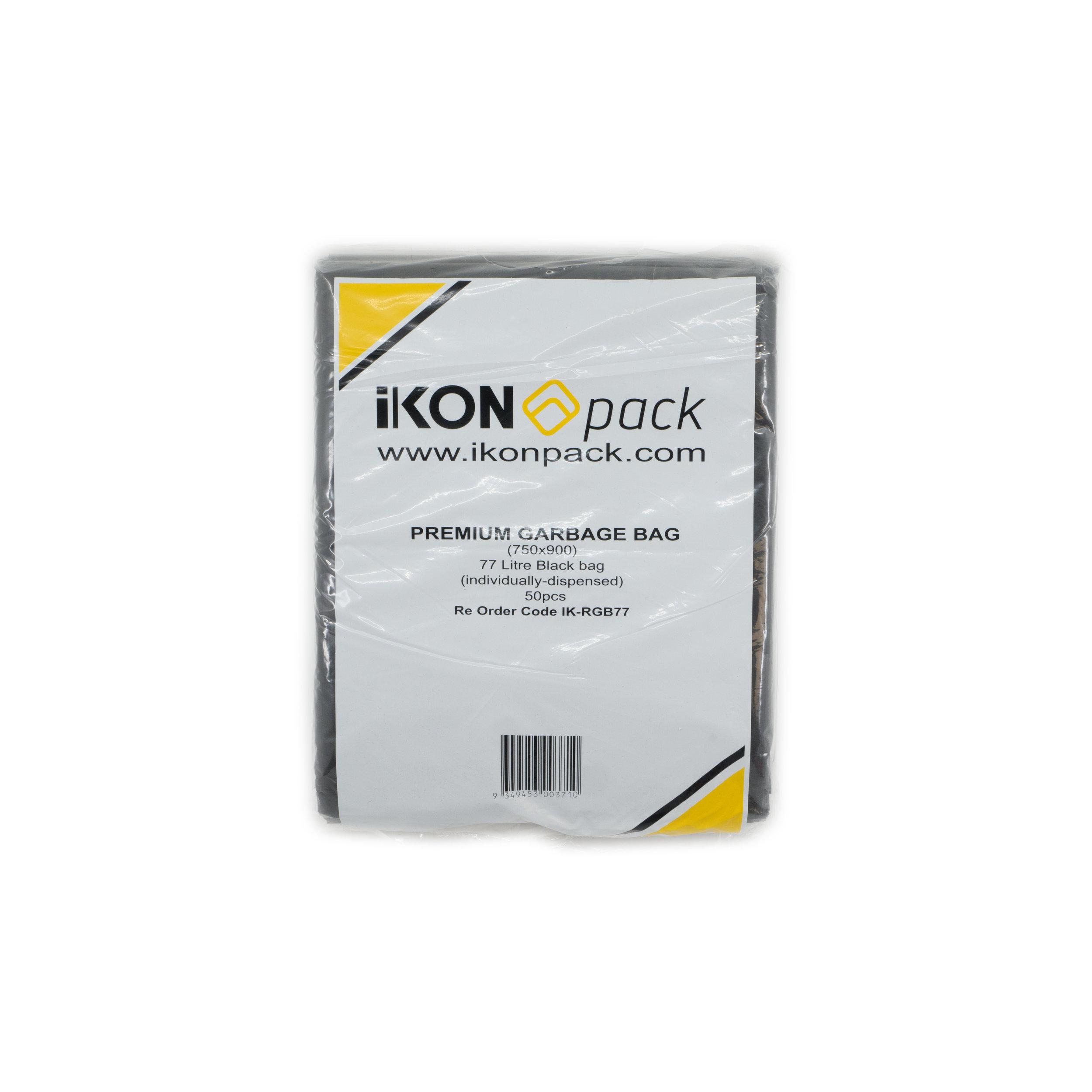 iK-RGB77 Premium Garbage Bags   77L Garbage Bags 750 x 900mm  50 pc 4 per carton